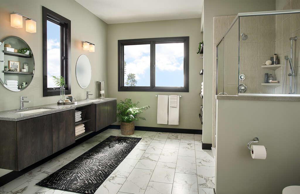 A contemporary complete bathroom remodel by Re-Bath.