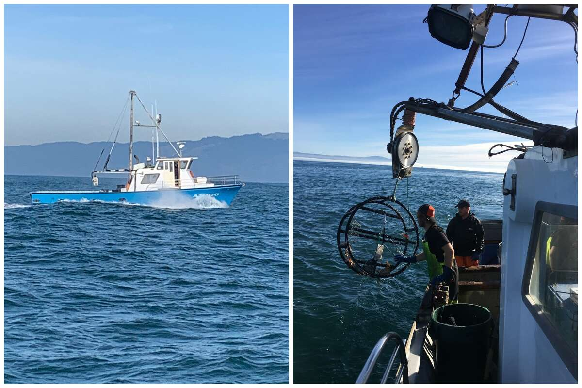 Left, a San Francisco crab boat heads out into the Pacific Ocean on the opening day of the crab season on Jan. 11, 2021. Right, fishers catch crab off the coast of San Francisco.