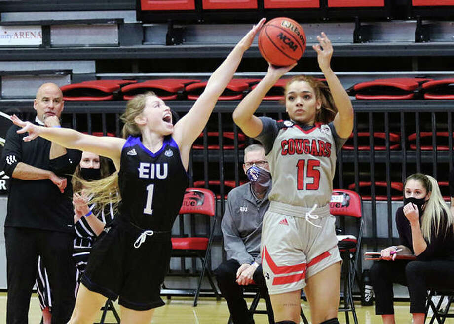 SIUE's Masyn McWilliams (15) has her 3-pointer contested by Eastern Illinois' Kira Arthofer during the first half Monday afternoon at First Community Arena in Edwardsville. Photo: Greg Shashack / The Telegraph