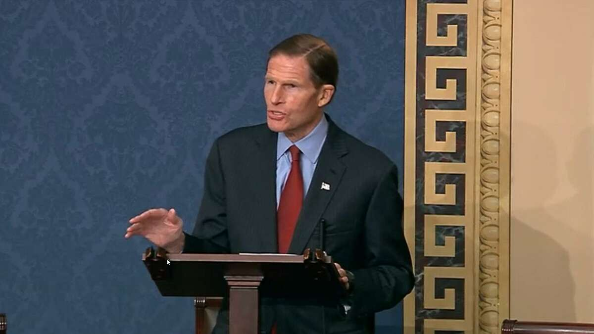 WASHINGTON, DC - JANUARY 6: In this screenshot taken from a congress.gov webcast, Sen. Richard Blumenthal (D-CT) speaks during a Senate debate session to ratify the 2020 presidential election at the U.S. Capitol on January 6, 2021 in Washington, DC. (Photo by congress.gov via Getty Images)