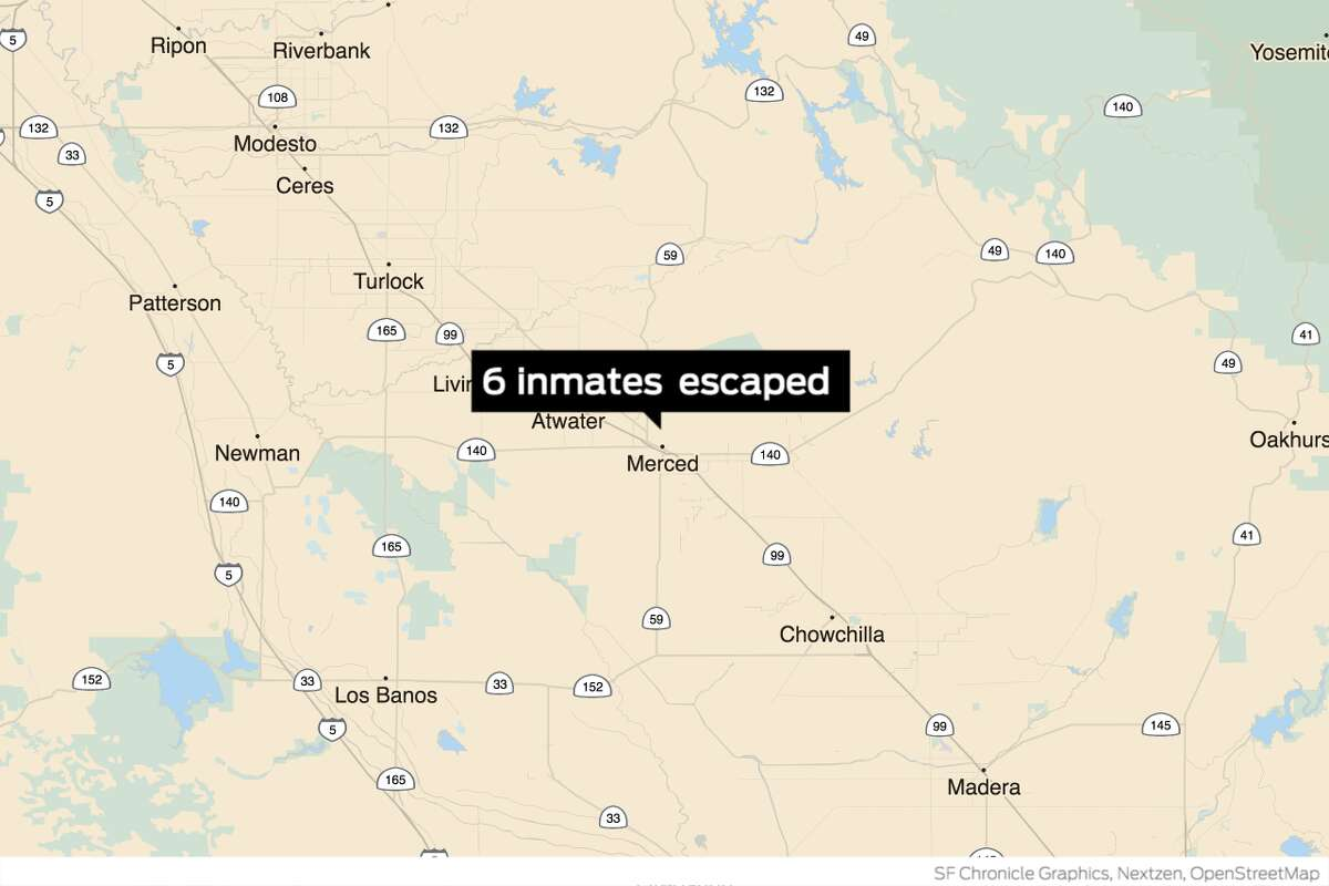 Six inmates at the Merced County jail escaped using a rope made from braided prison sheets late Saturday evening.
