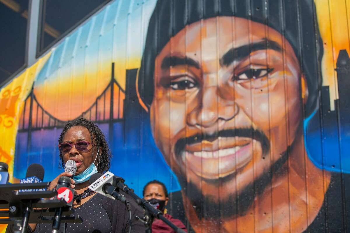 Reverend Wanda Johnson, mother of Oscar Grant, opens up a press conference on October 5, 2020 where she explains why the family of Oscar Grant is reopening his case outside the Fruitvale Bart Station in Oakland, CA where his life was taken 11 years ago. Alameda County District Attorney Nancy O'Malley said Monday she will not pursue charges against Anthony Pirone, the former BART police officer whose actions leading to the fatal police shooting of Oscar Grant have been have criticized since Grant was shot and killed on New Year's Day 2009.