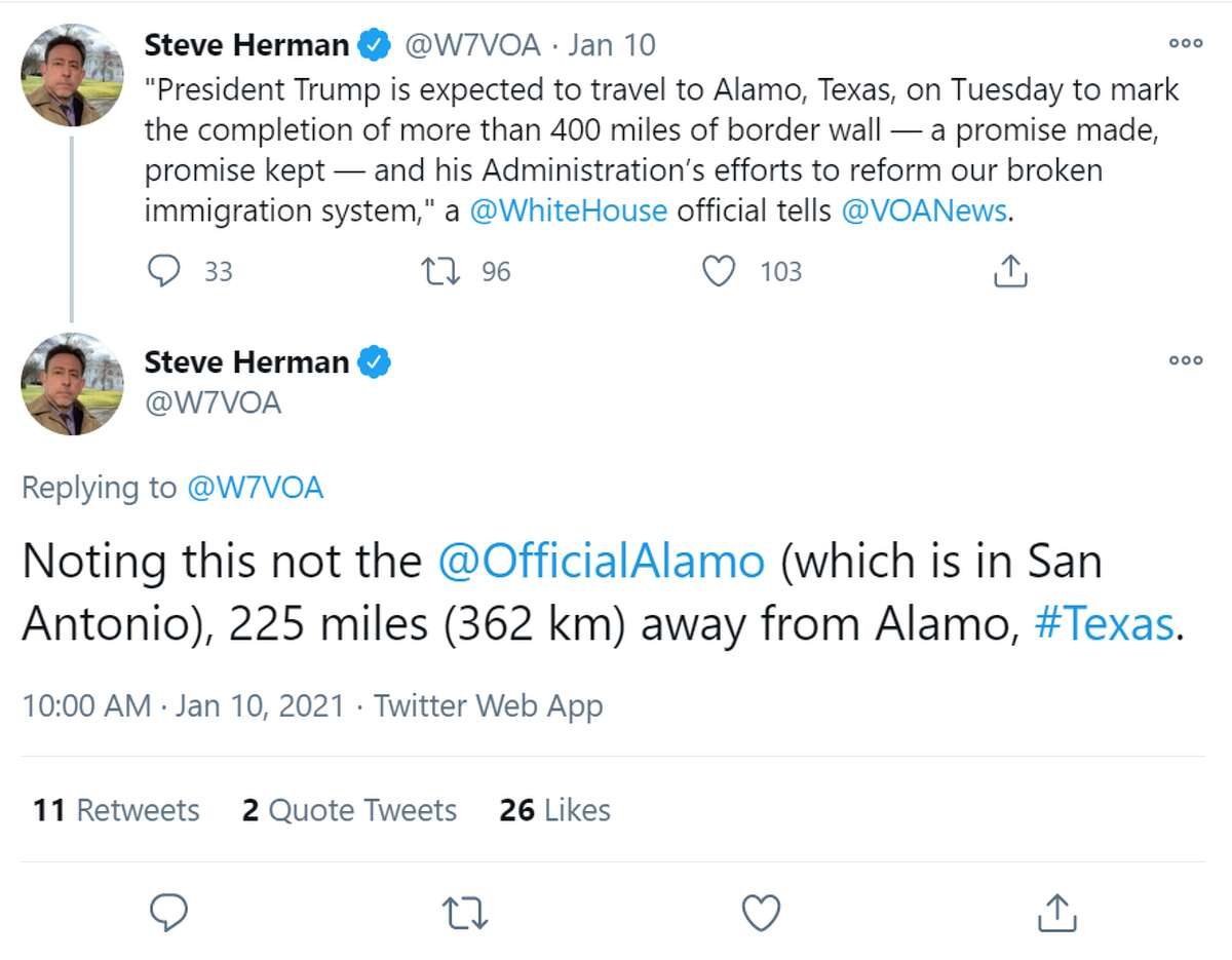 @W7VOA: Noting this not the @OfficialAlamo(which is in San Antonio), 225 miles (362 km) away from Alamo, #Texas.
