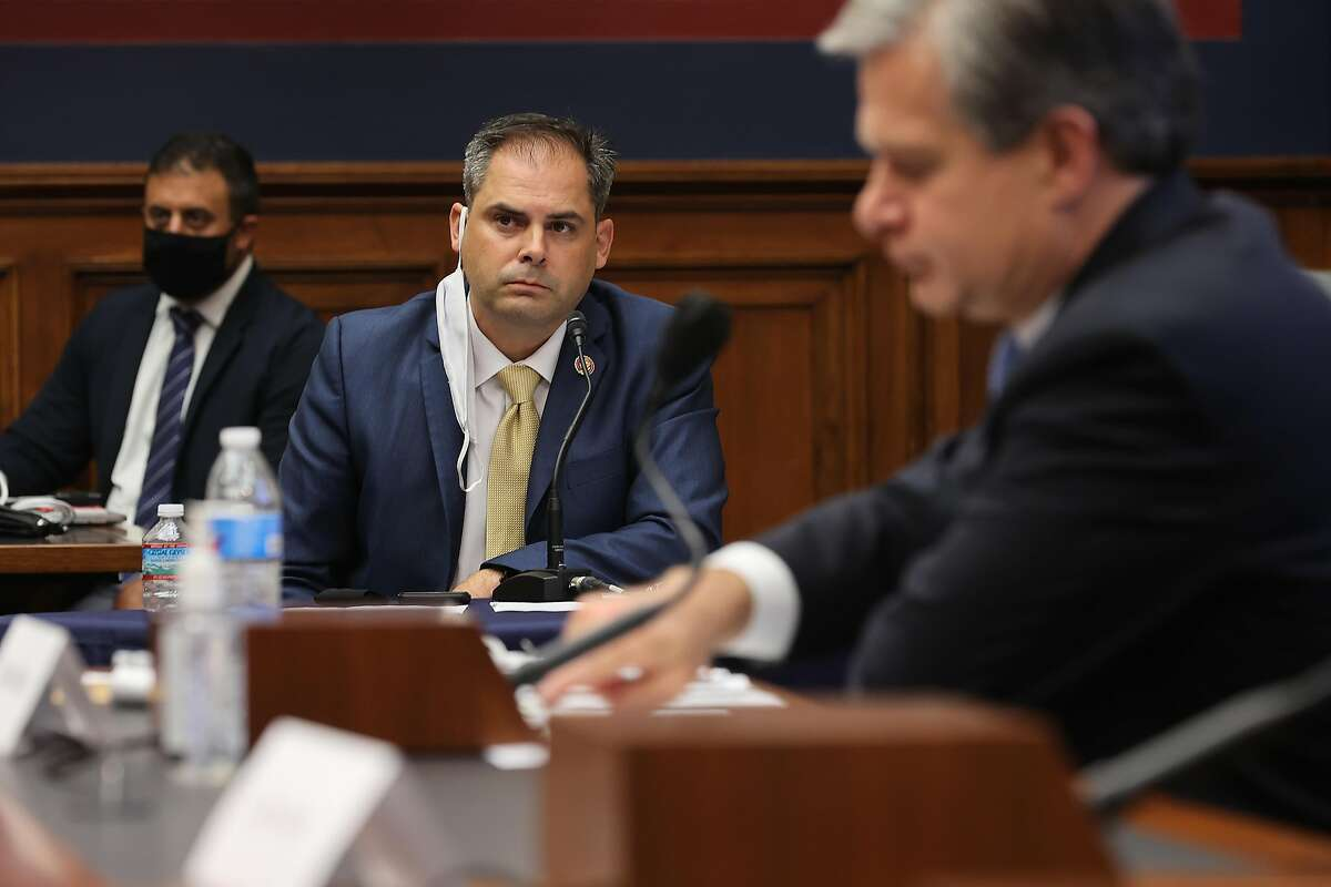 WASHINGTON, DC - SEPTEMBER 17: House Homeland Security Committee member Rep. Mike Garcia (D-CA) listens to testimony from FBI Director Christopher Wray during a hearing on 'worldwide threats to the homeland' in the Rayburn House Office Building on Capito