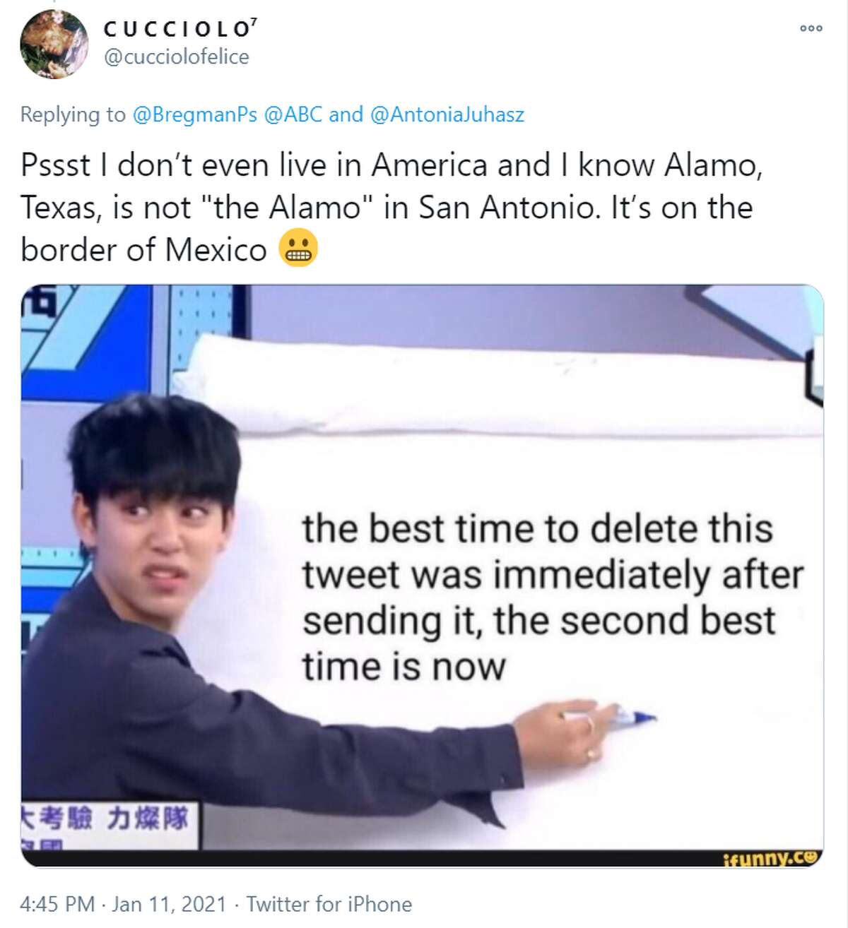 @cucciolofelice: Pssst I don't even live in America and I know Alamo, Texas, is not