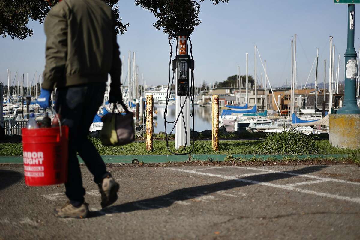 An electric vehicle charging station at the Berkeley Marina.