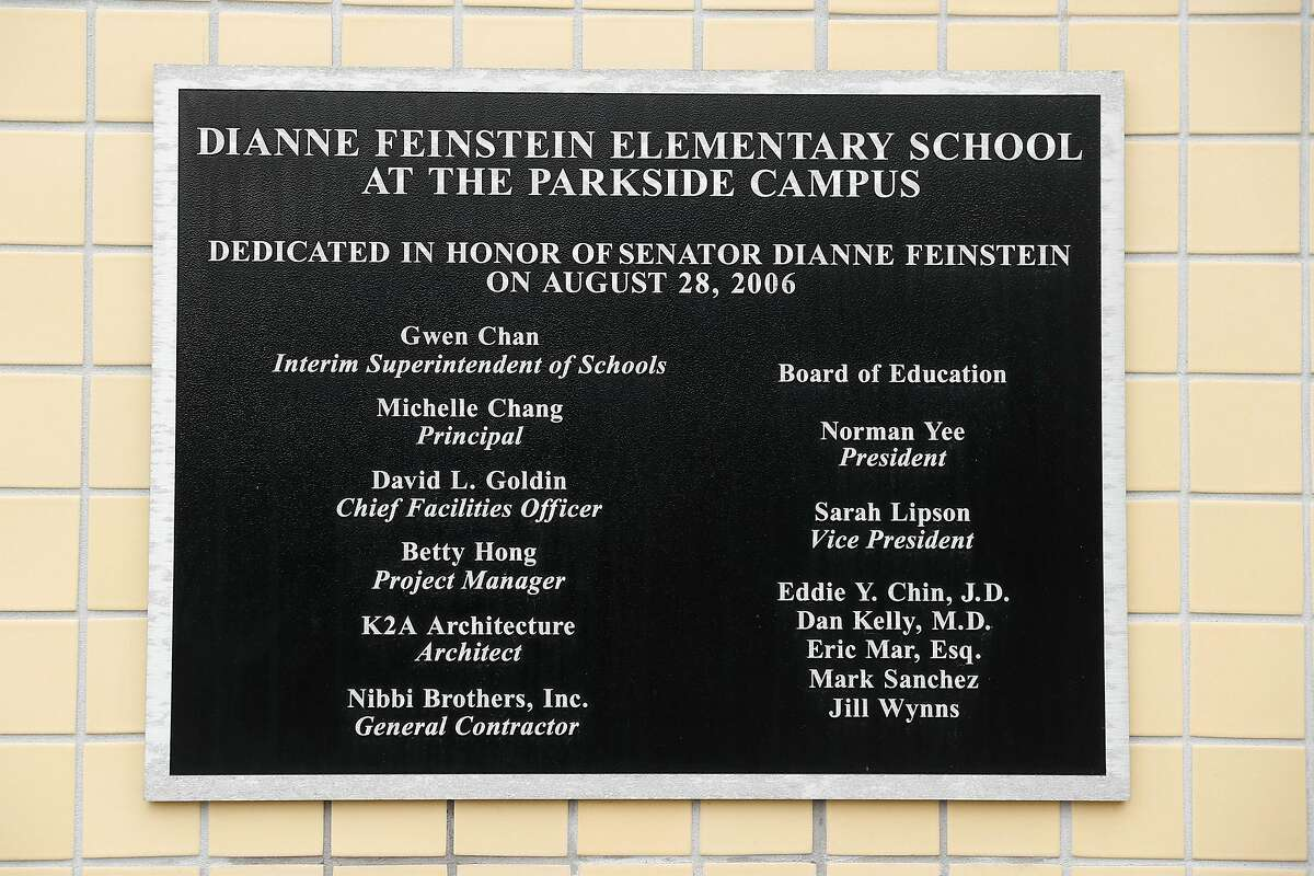 Dianne Feinstein Elementary School in San Francisco, Calif., on Sunday, January 10, 2021. School parent, Bryan McDonald, objects to the school board's demand that the school change its name.