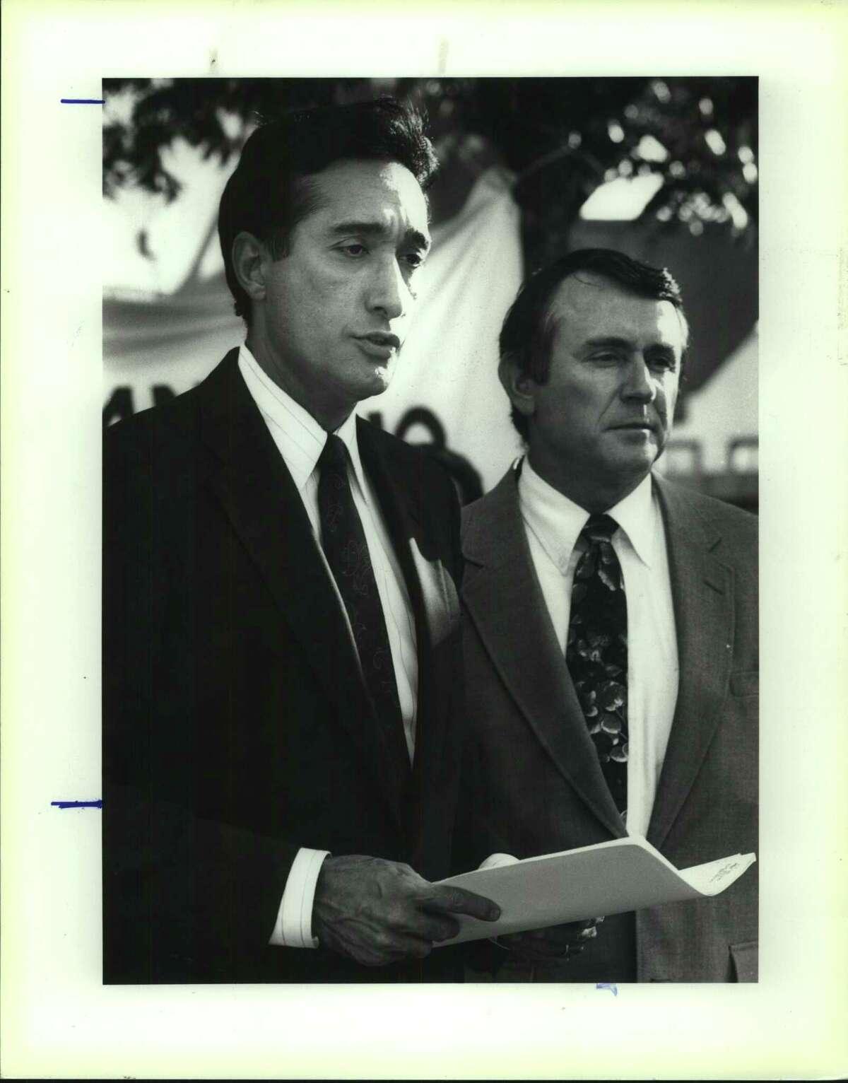San Antonio Education Partnership board member David Semrad (right) in 1991 with Henry Cisneros.