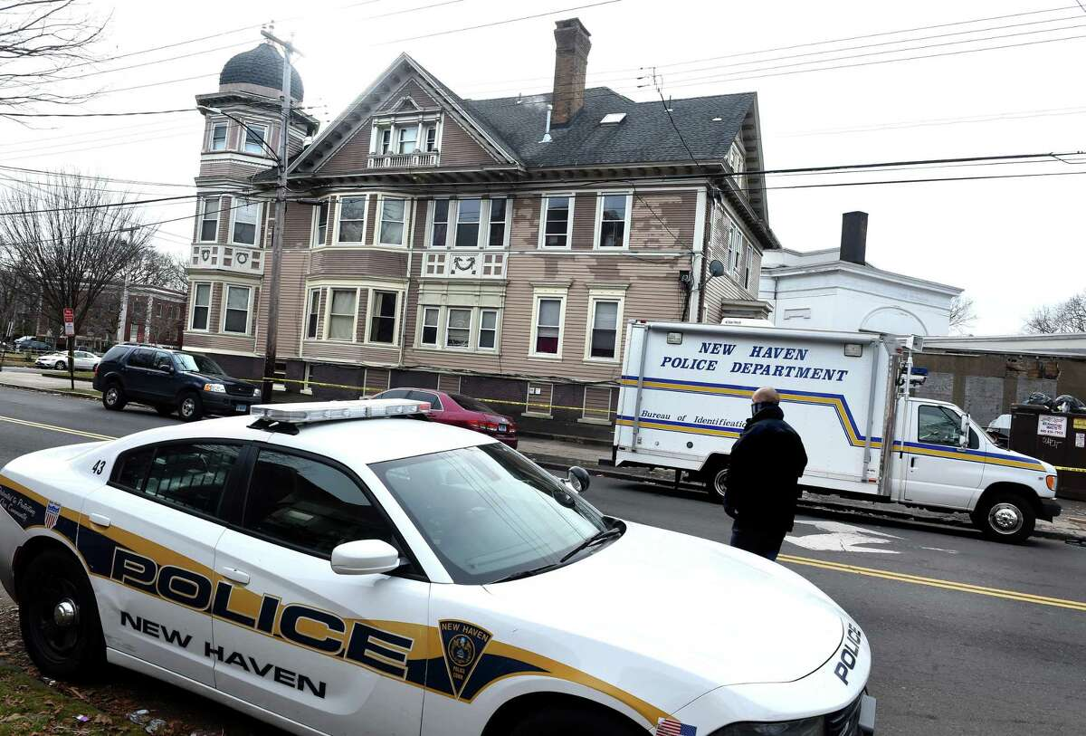 New Haven Police at the corner of Winthrop Avenue and Chapel Street in New Haven on January 11, 2021.