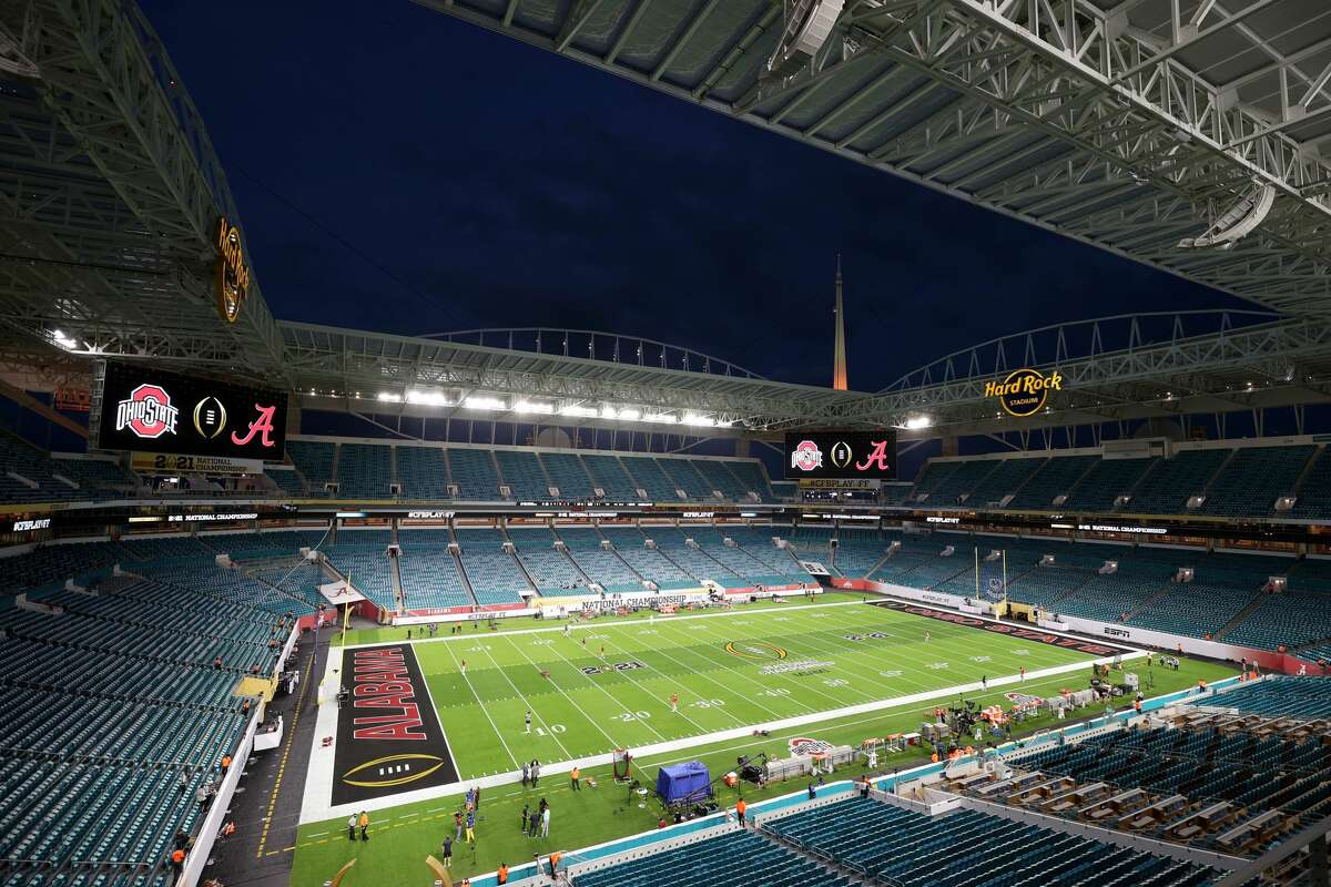 A general view before the College Football Playoff National Championship between the Alabama Crimson Tide and the Ohio State Buckeyes at Hard Rock Stadium on Jan. 11, 2021 in Miami Gardens, Florida. (Photo by Jamie Schwaberow/Getty Images)
