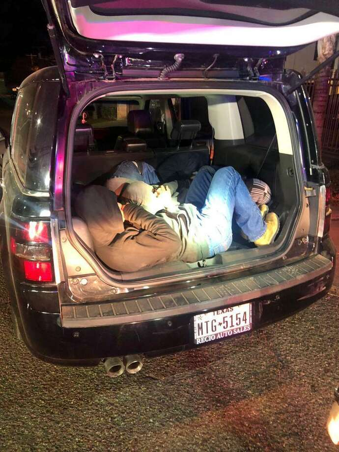 Five immigrants who had crossed the border illegally were found inside this Ford Flex. The 17-year-old driver was arrested on the charges of evading arrest and smuggling of persons. Photo: Courtesy Photo