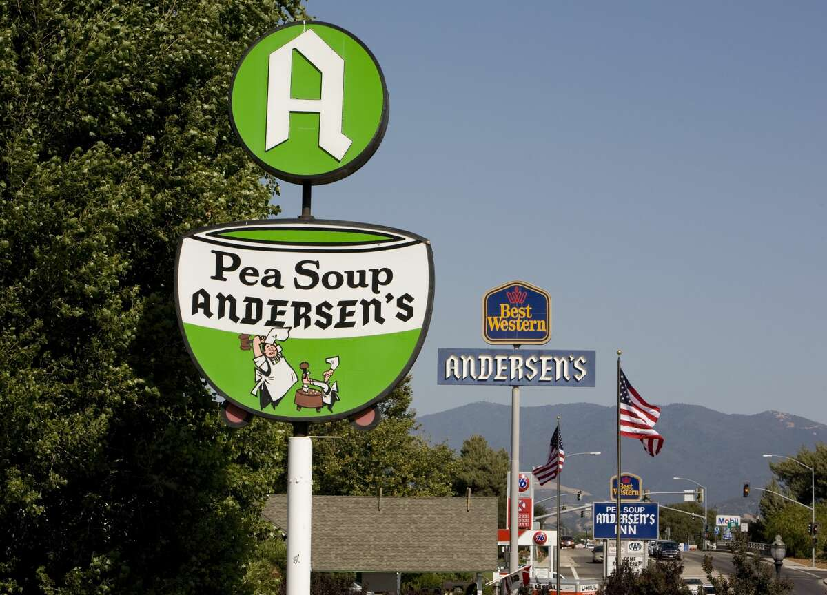 The sign in front of the Pea Soup Andersen's restaurant in Buellton, Calif.