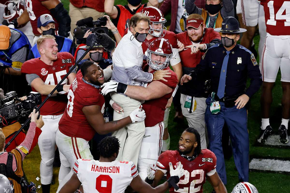 Head coach Nick Saban of the Alabama Crimson Tide celebrates defeating the Ohio State Buckeyes in the College Football Playoff National Championship game at Hard Rock Stadium on Jan. 11, 2021 in Miami Gardens, Florida. (Michael Reaves/Getty Images/TNS)