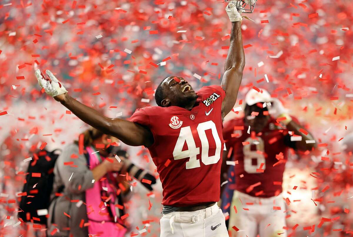 MIAMI GARDENS, FLORIDA - JANUARY 11: Joshua McMillon #40 of the Alabama Crimson Tide celebrates following the College Football Playoff National Championship game against the Ohio State Buckeyes at Hard Rock Stadium on January 11, 2021 in Miami Gardens, Florida. (Photo by Kevin C. Cox/Getty Images)