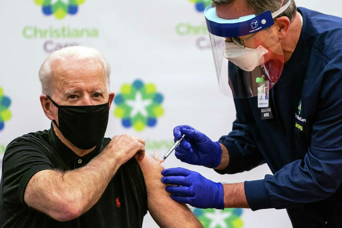President- Elect Joe Biden receives the second dose Covid-19 vaccination shot at the ChristianaCare Hospital in Newark, Del., on January 11, 2021.