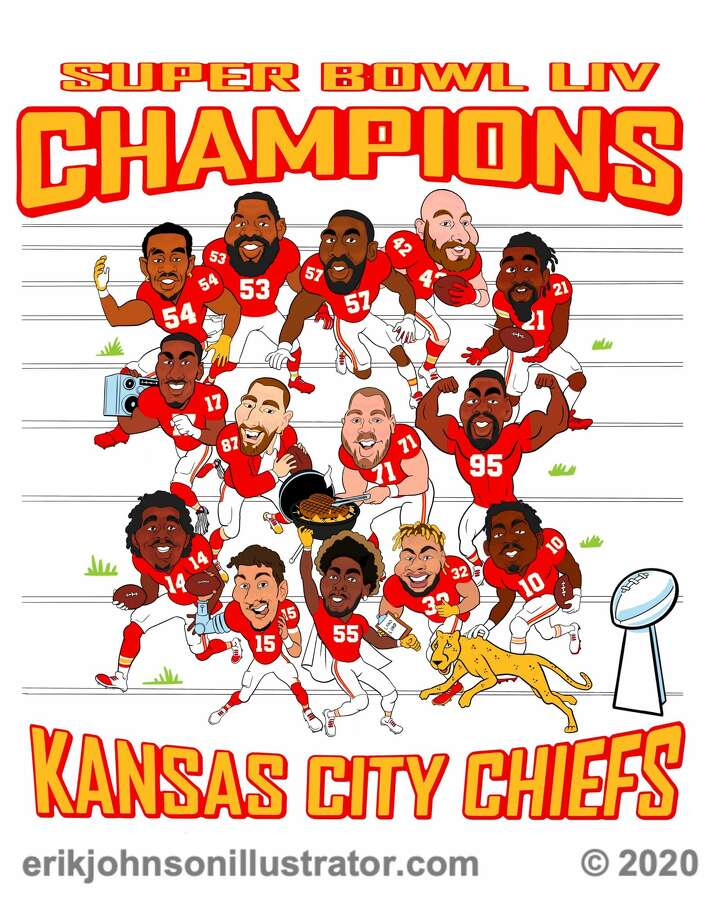Kansas City Chiefs' defensive end Frank Clark commissioned Erik Johnson to create a t-shirt design with caricatures of his teammates. Photo: Image Provided/Erik Johnson