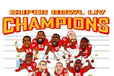 Kansas City Chiefs' defensive end Frank Clark commissioned Erik Johnson to create a t-shirt design with caricatures of his teammates.