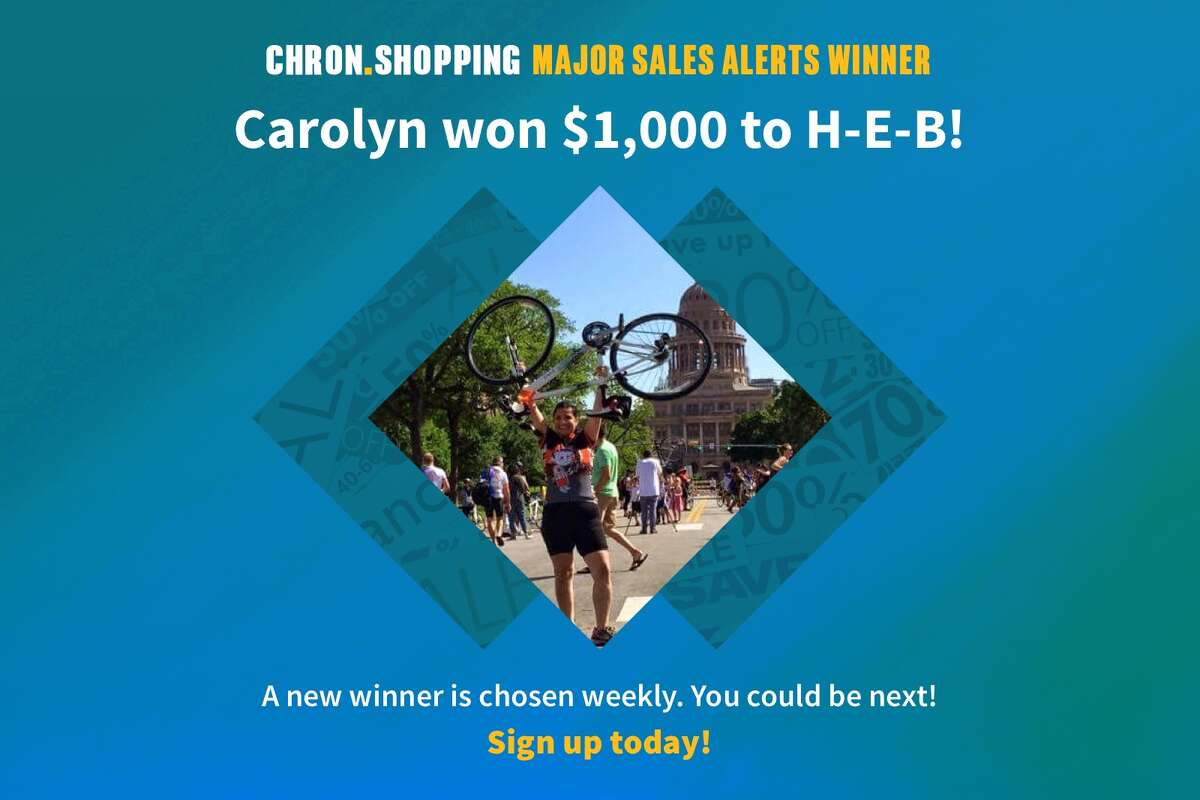 Meet Carolyn, the latest Chron.com reader to sign up for Major Sales Alerts and win $1,000 to spend at H-E-B. Will you be next?