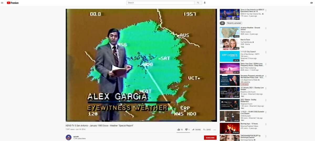 KENS-TV meteorologist Alex Garcia during weather coverage when snow covered San Antonio in 1985.