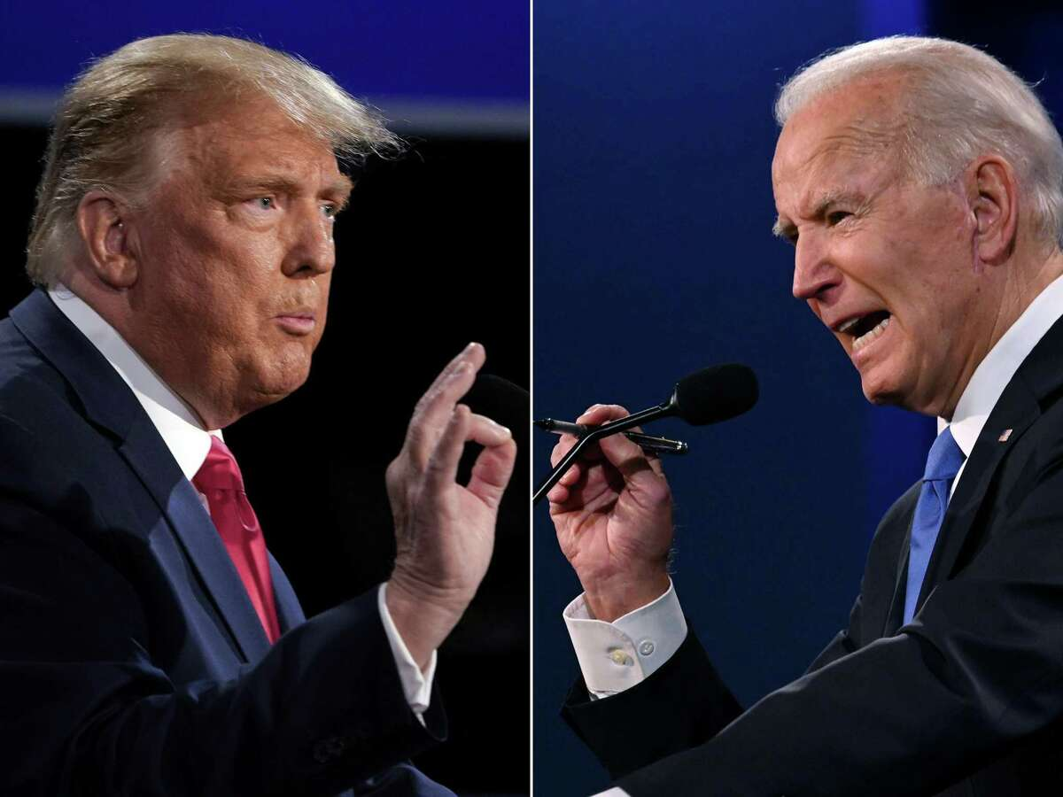 This file combination of pictures created on October 22, 2020 shows US President Donald Trump (L) and Democratic Presidential candidate and former US Vice President Joe Biden during the final presidential debate at Belmont University in Nashville, Tennessee.