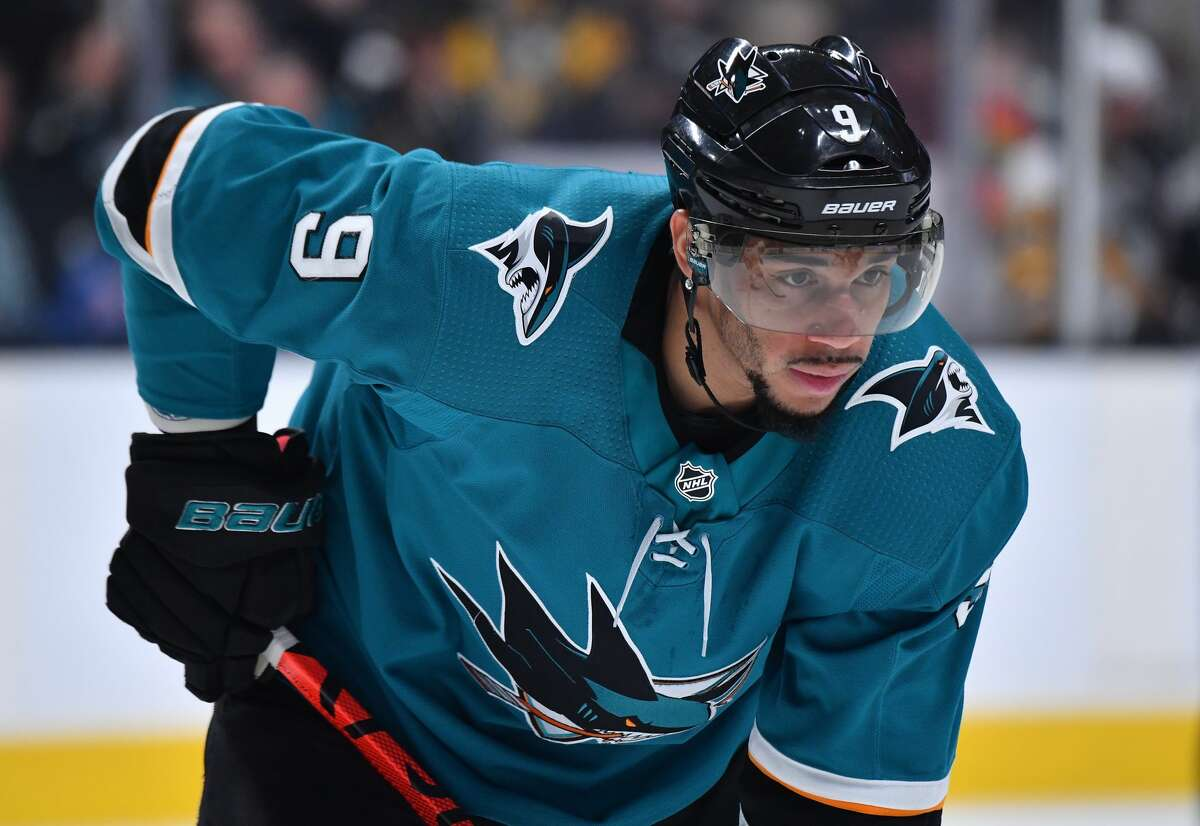 Evander Kane of the San Jose Sharks prepares to face off against the Pittsburgh Penguins at SAP Center on Feb. 29, 2020, in San Jose, Calif.