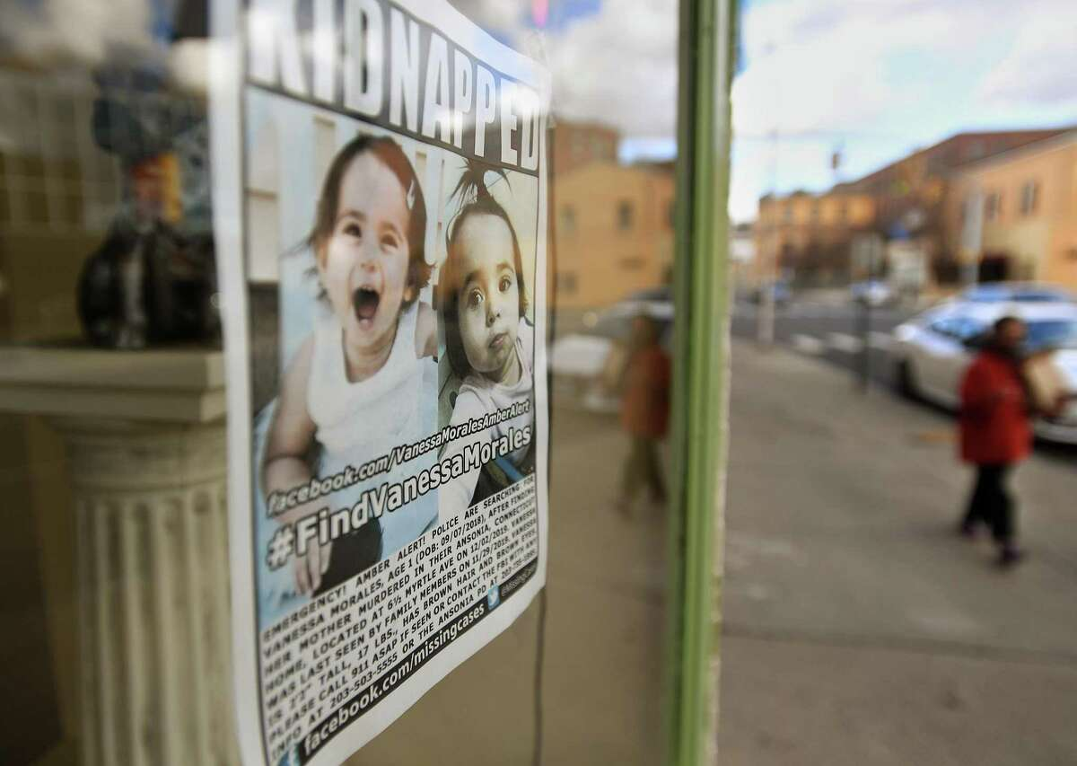 Flyers alerting the public to the hunt for missing toddler Vanessa Morales still hang in windows of Main Street Ansonia businesses on the one year anniversary of her disappearance from her home in Ansonia, Conn. on Tuesday, December 1, 2020.