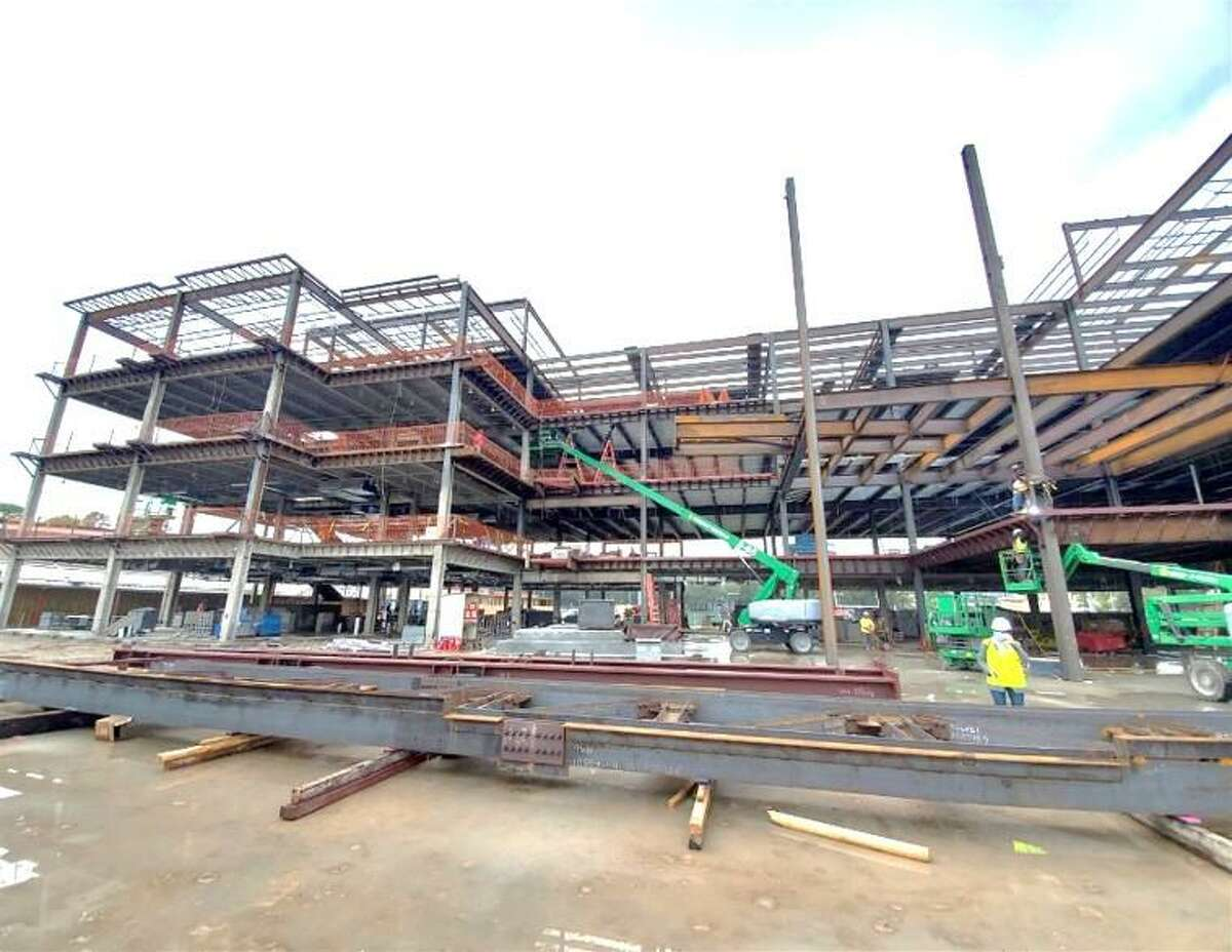 The large steel structure that is being built by Memorial High School will house many additional classrooms, many of which will be science labs, and an additional cafeteria
