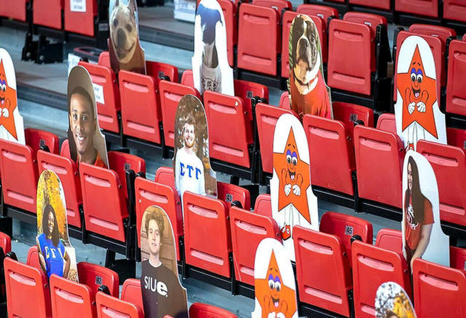 Seats at SIUE's First Community Arena feature fans and character cutouts instead of fans. No spectators have been allowed at Cougars games this season because of the COVID-19 pandemic. Photo: Scott Kane | SIUE Athletics
