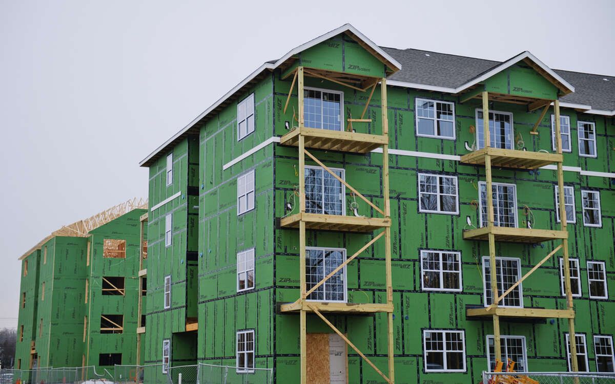A view of The Delaware, a 92 unit apartment complex being built, seen here on Monday, Jan. 11, 2021, in Cohoes, N.Y. (Paul Buckowski/Times Union)