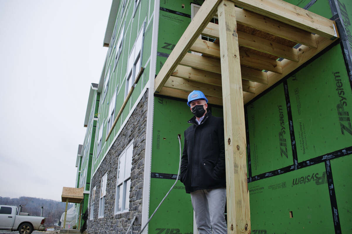 Todd Curley, partner with Prime Companies, at The Delaware, a 92 unit apartment complex being built, on Monday, Jan. 11, 2021, in Cohoes, N.Y. (Paul Buckowski/Times Union)