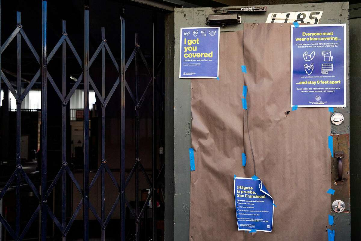 Windows of Crossfit Golden Gate in San Francisco were papered over in October. S.F. is planning a $62 million relief program for small businesses.