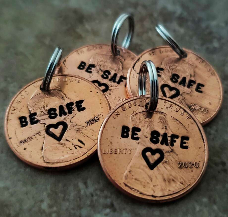 "Stamped pennies made by Tiffany Demski of Auburn Hills, 10, are stamped with the message ""Be safe."" (Photo provided/Angee Demski)"