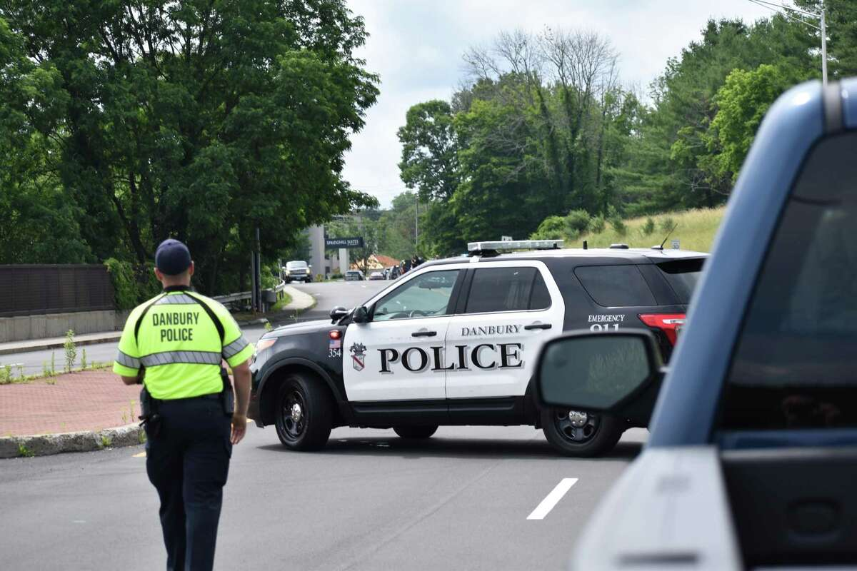 Danbury and state police respond to an officer-involved shooting on Old Ridgebury Road the morning of July 3, 2019.