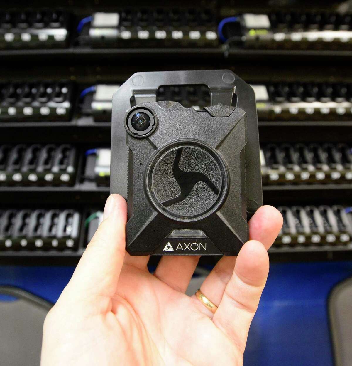 An Axon Flex 2 HD camera, photographed on Wednesday, March 14, 2018 at police headquarters in Stamford, Connecticut, will soon be worn by all patrol officers in the department. Body-worn cameras are recording devices police officers wear as part of their uniforms to document what they see as they perform their duties.