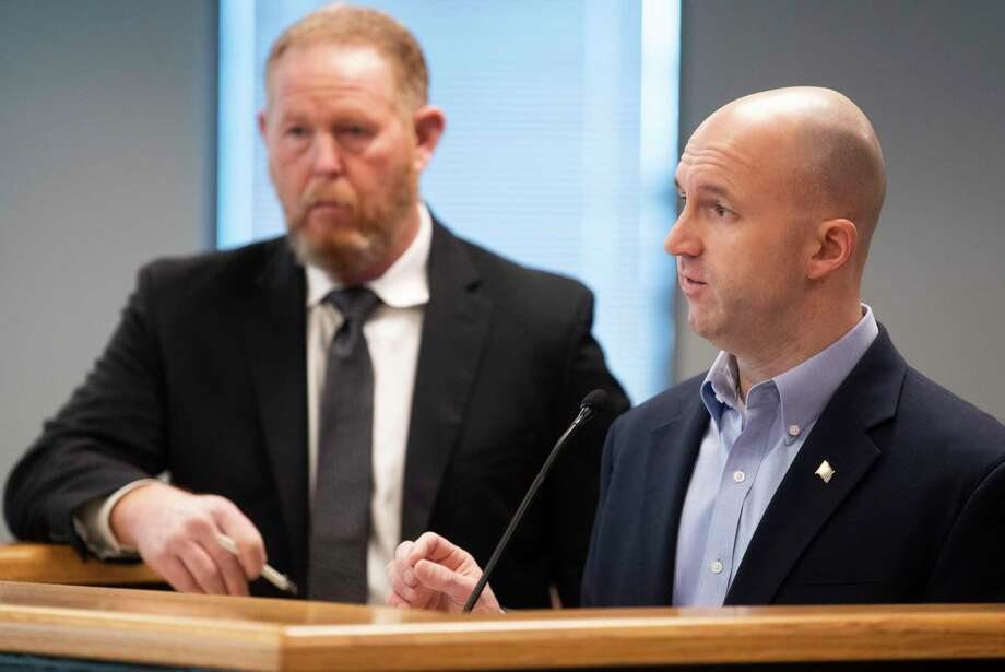 Chris Perkins, senior planner with Montgomery County's Office of Homeland Security and Emergency Management, gives an update on the county's plans for mass COVID-19 vacination sites beside Director Darrin Hess during a Montgomery County Commissioners Court meeting at Alan B. Sadler Commissioners Court building, Tuesday, Jan. 12, 2021, in Conroe. Photo: Jason Fochtman, Houston Chronicle / Staff Photographer / 2021 © Houston Chronicle