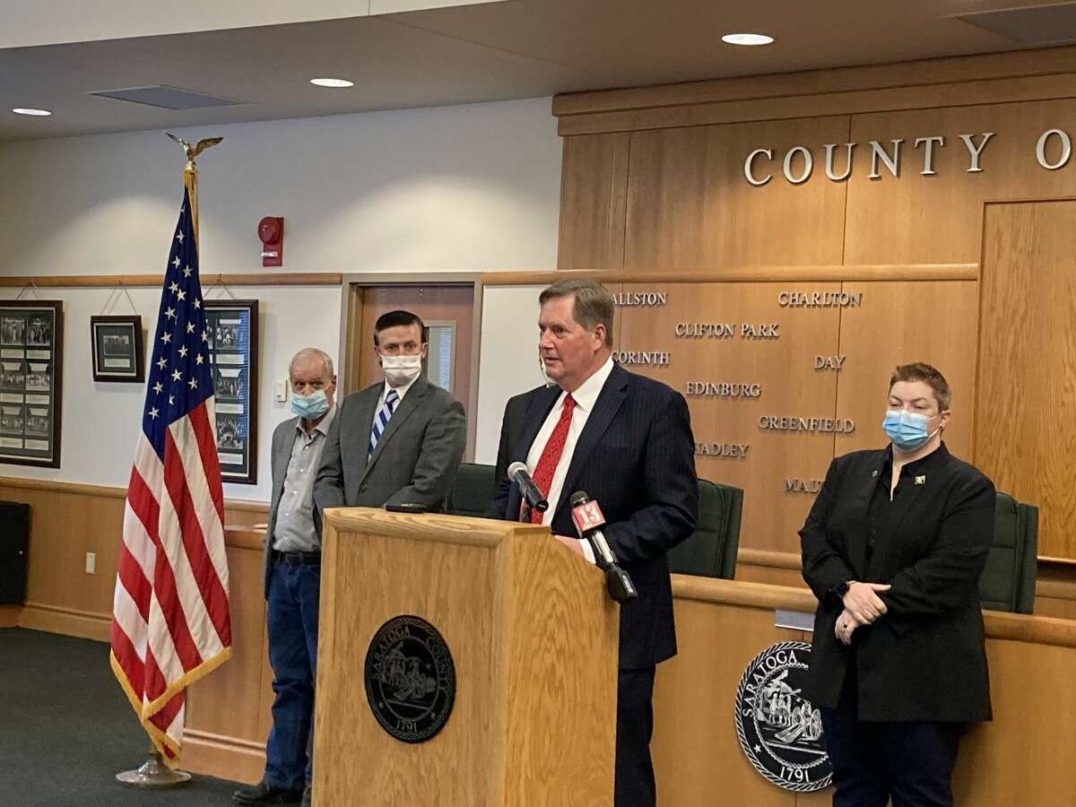 Saratoga County Board of Supervisors Chair Todd Kusnierz speaks at a coronavirus update press conference on Tuesday, Jan. 12, 2020, at the Saratoga County Board room in Ballston Spa. Behind him, from left, is Wilton Supervisor John Lant, Clifton Park Supervisor Phil Barrett and Saratoga Springs Supervisor Tara Gaston.