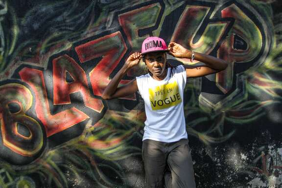 DJ Rachael standing against a graffitied wall on March 08, 2017 in Kampala, Uganda.