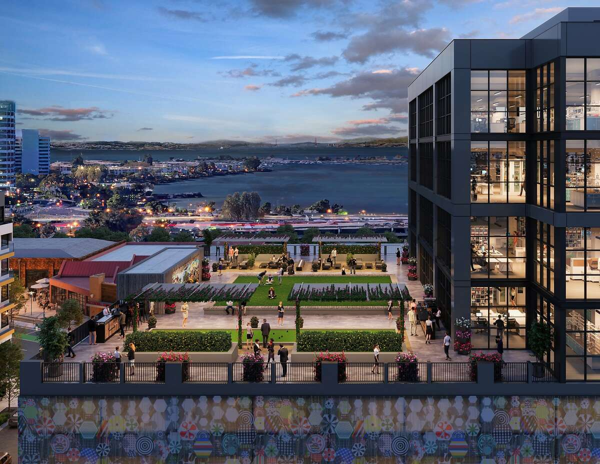 A rendering of Oxford Properties Group's planned redevelopment of Emeryville's Public Market.