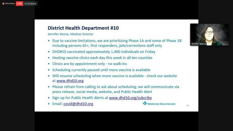 Dr. Jennifer Morse, medical director of District Health Department #10, speaks during a virtual press conference on Tuesday. (Screenshot/Zoom)