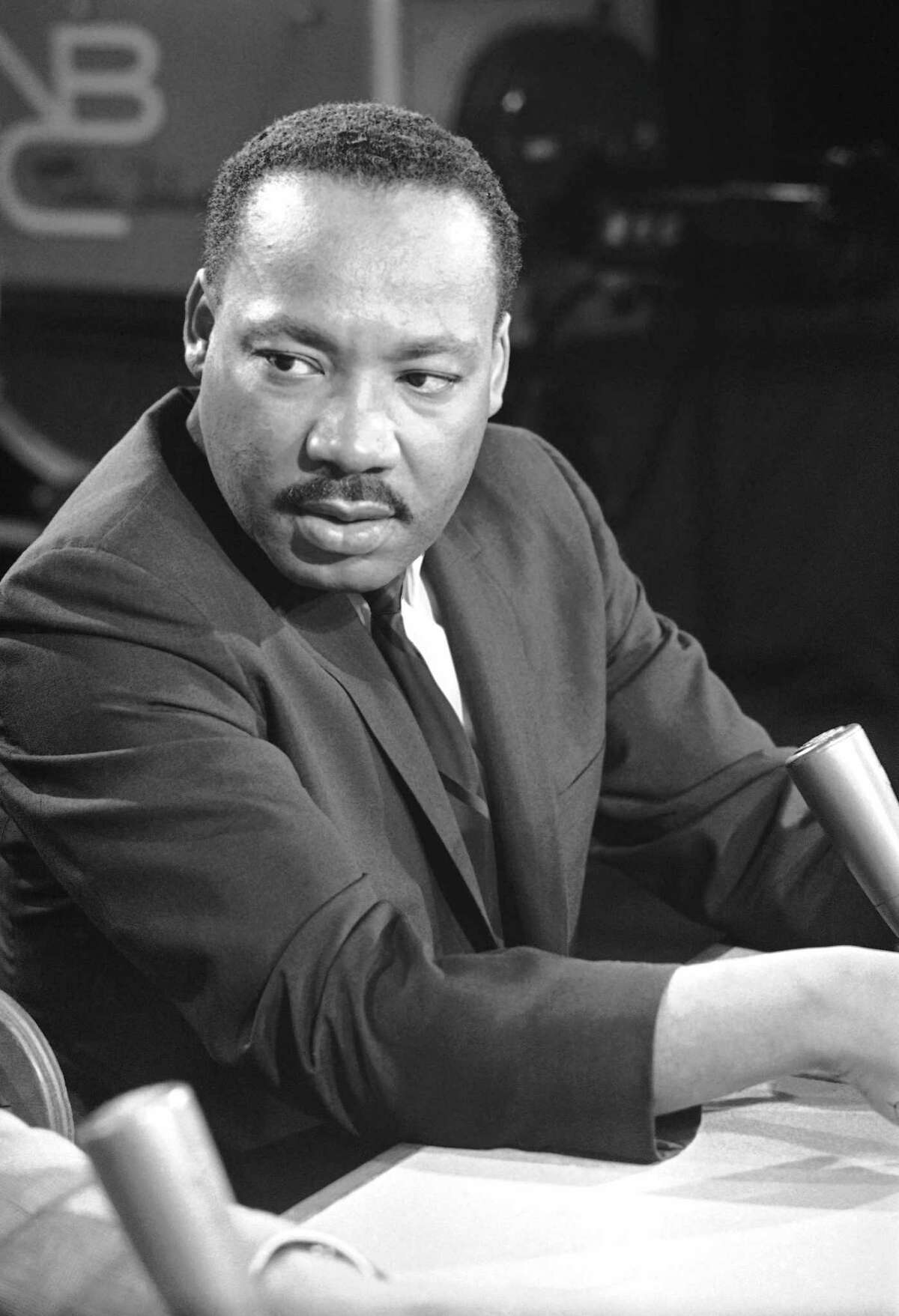 Dr. Martin Luther King is shown just before a television program in Washington, Aug. 13, 1957. (AP Photo/Henry Burroughs)