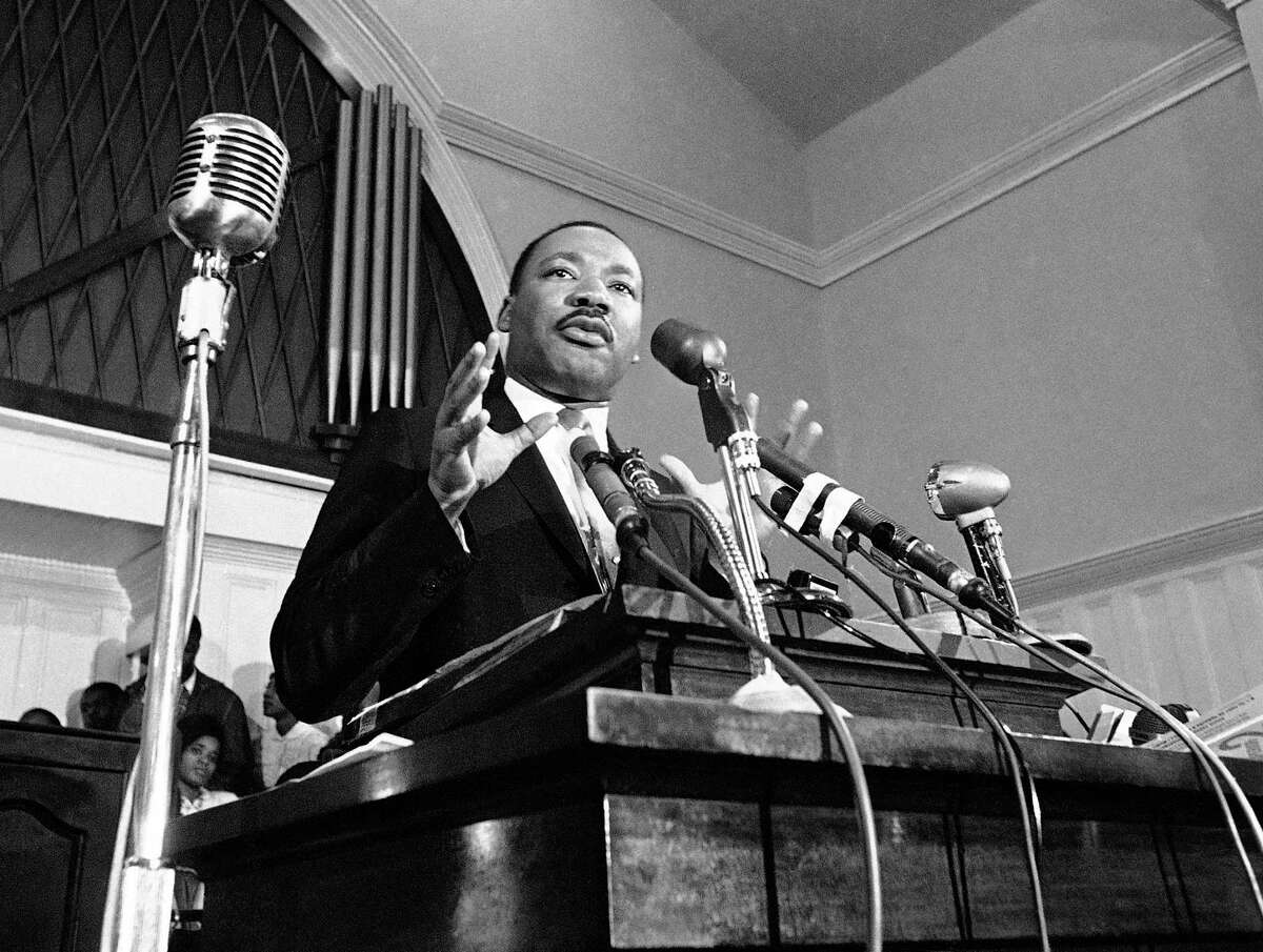 FILE - In this 1960 file photo, Martin Luther King Jr. speaks in Atlanta. (AP File Photo)