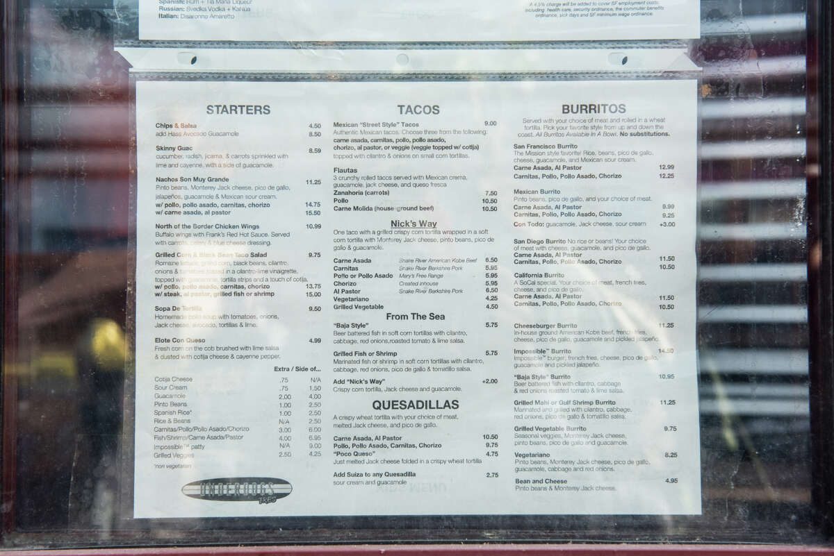 The Underdogs Tres menu.