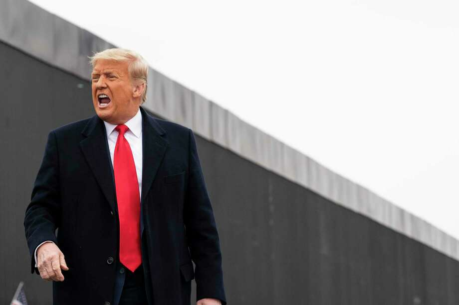 President Donald Trump reacts after speaking near a section of the U.S.-Mexico border wall, Tuesday, Jan. 12, 2021, in Alamo, Texas. (AP Photo/Alex Brandon) Photo: Alex Brandon, STF / Associated Press / Copyright 2021 The Associated Press. All rights reserved.