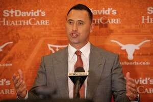 New UT football coach Steve Sarkisian talks to the media at his introductory press conference on Jan. 12, 2021.