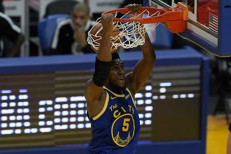 Golden State Warriors forward Kevon Looney (5) during an NBA basketball game against the Los Angeles Clippers in San Francisco, Wednesday, Jan. 6, 2021. (AP Photo/Jeff Chiu)