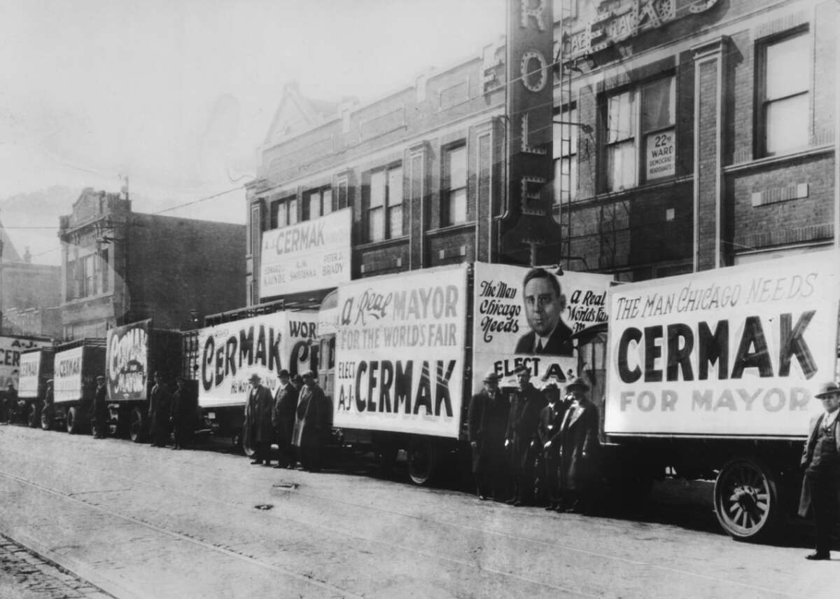 """1931: Democrats take control of Chicago Anton Joseph Cermak beat Republican incumbent William Hale Thompson to become Chicago's 44th mayor, beginning an unbroken line of Democratic mayors that lasts until today. Mayor Cermak, an immigrant from Czechoslovakia, was shot to death in Miami in 1933 by a man trying to kill President-elect Franklin Delano Roosevelt. As Mayor Cermak was rushed to the hospital in President Roosevelt's car, he said, """"I am glad it was me instead of you."""" [Pictured: Campaign trucks for Anton Cermak are visible in Chicago's 22nd Ward in1931.]"""