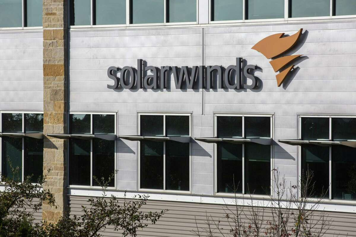 Signage outside SolarWinds Corp. headquarters in Austin, Texas, on Dec. 22, 2020.
