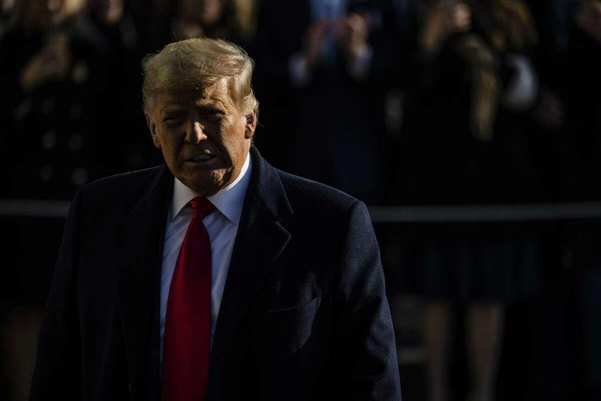 President Trump departs the White House in Washington, D.C., on Jan. 12, 2021.