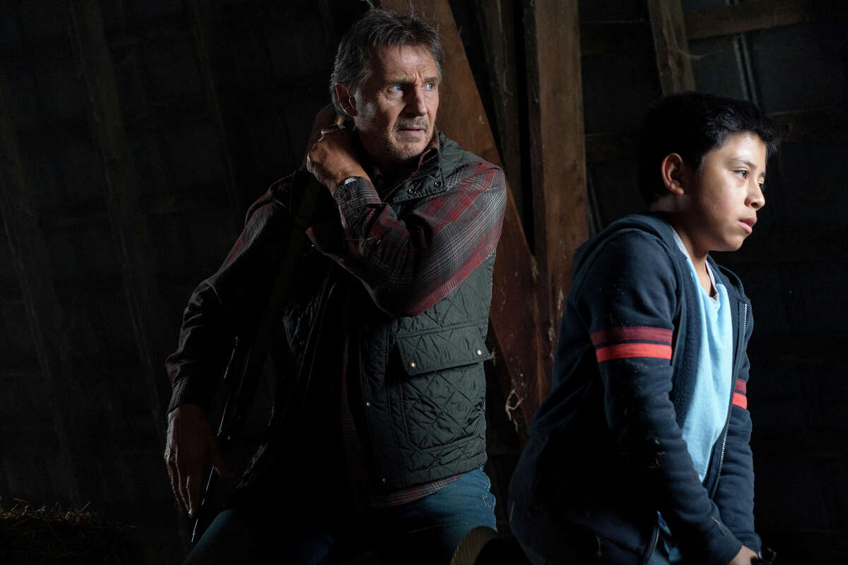 """Liam Neeson, left, and Jacob Perez in """"The Marksman."""""""