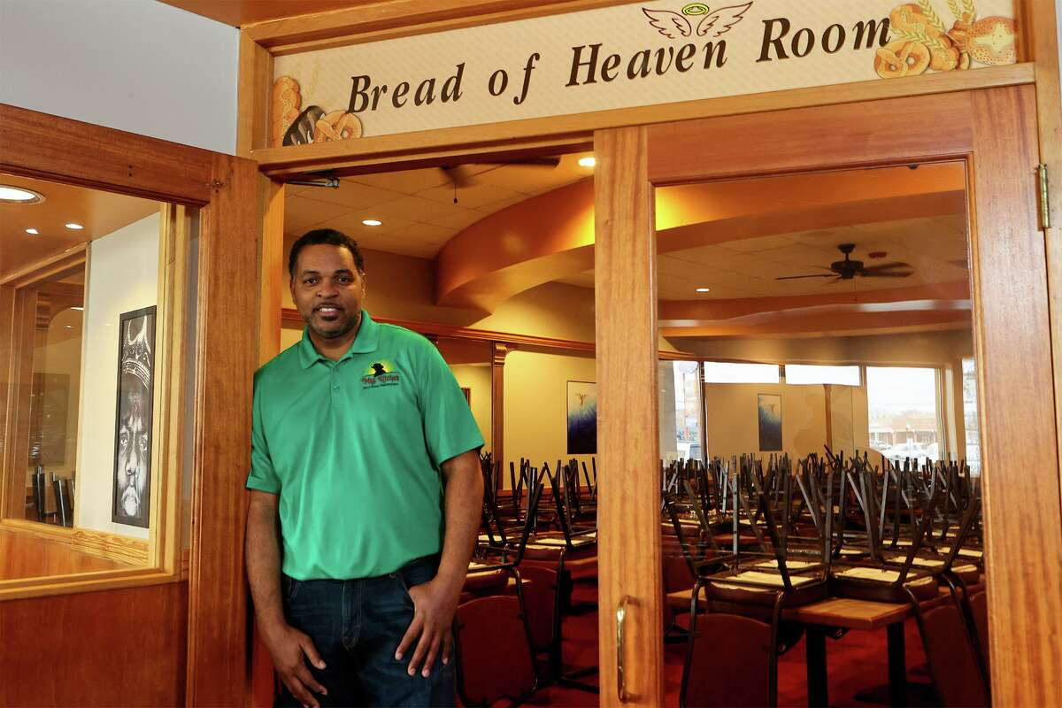 Owner Garlan McPherson at the entrance to the private meeting room named the